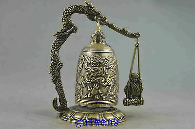 Collectible Handwork Copper Carve Dragon Knock Issue Music Bell Exorcism Statue