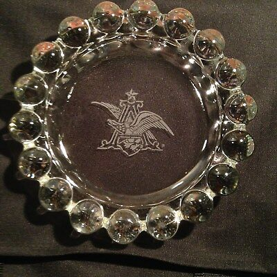 New Unused ANHEUSER BUSCH Beer Heavy LARGE GLASS ASHTRAY Etched Eagle Emblem