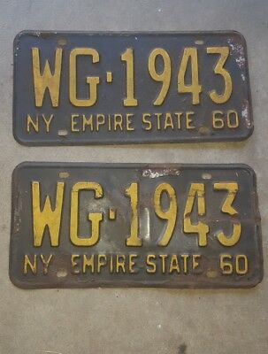 Vintage 1960 New York State Empire State  License Plates / Matching Pair WG-1943