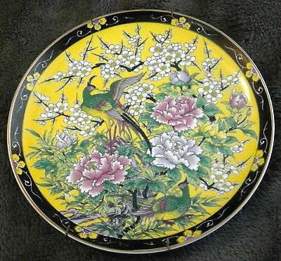 Vintage Japan pheasant flower plate black yellow pink green A.A. importing stamp