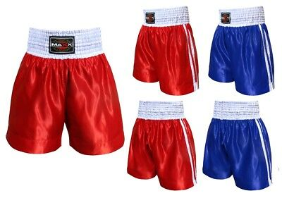 Maxx Boxing Shorts Trunks Kick Boxing MMA Training Gym Men Red Blue Black White