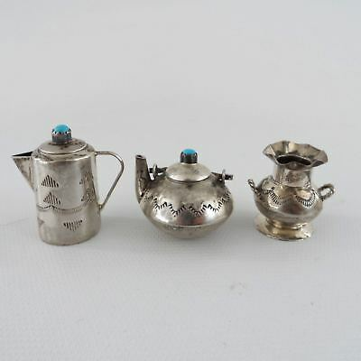 Elizabeth Whitman Navajo 5 pcs Sterling Silver Kettle Pitcher Vase