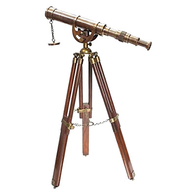 Vintage Antique Telescope Brass Nautical Heavy Wooden Tripod Stand Collectible