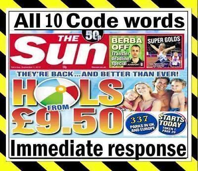 💖 The Sun Holidays Codes £9.50 TOKEN CODE WORDS Online Booking CODEWORDS