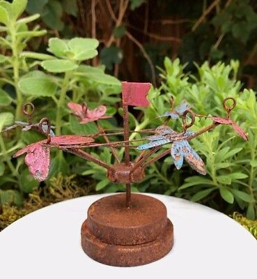 Miniature Dollhouse FAIRY GARDEN ~ Rustic Rusty Metal Tilt-A-Whirl Carnival Ride