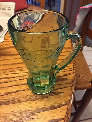 "Coca Cola Mug 6 1/4""Tall 14 oz Heavy Thick Green Glass with Handle"
