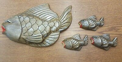 VTG Lot of 4 Fish Wall Plaque Chalk Chalkware Little Fish as Bubbles