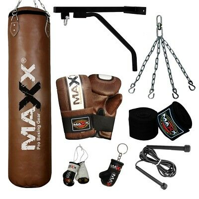 Maxx Brown 5ft,4ft ,3ft Boxing Set Filled or Empty Punch Bag Gloves Bracket