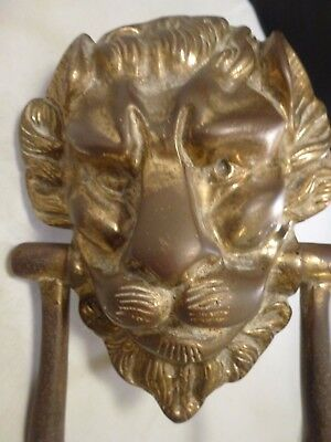 Antique Bronze Brass Lion Head Door Knocker Very Detailed