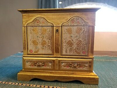 Vintage Florentine Wood Royal Sealy Jewelry Boxes In Beautiful Condition Music