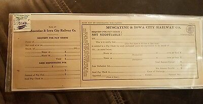 Muscatine  & Iowa City railroad 1915- 16 pay request for fired worker RARE 1 YR.