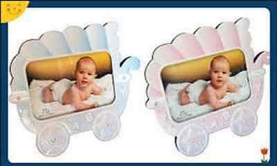 """Baby Kids Newborn Photo Frame Carriage Trolley 4"""" x 6"""" Home Decoration Pink Blue"""