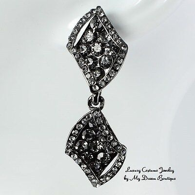Formal Wedding Pageant Evening Black Crystal Post Drop Elegant Fashion Earrings