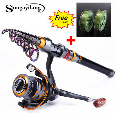 Telescopic Fishing Rod with Reel Combos +Fishing Lines Set Portable Travel Rod