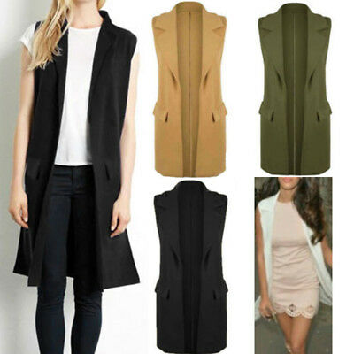 Women Sleeveless Solid Color Long Cardigan Jacket Coat Waistcoat Vest Trench NEW
