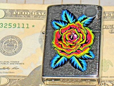 New Windproof ZIPPO USA LIGHTER 29399 Blooming Rose Flower Tattoo St Chrome Case