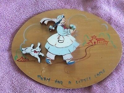 "Vintage Wooden Painted Picture Mary Had A Little Lamb""Nursery Rhyme Wall Hanging"