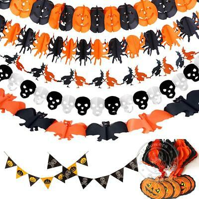 Halloween Party Hanging Garland Pennant Banner Decoration 3m Paper Kids Scene