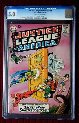 JUSTICE LEAGUE OF AMERICA #2  CGC 5.0!  CR-OW Pages!  N.R.  MOVIE COMING SOON!