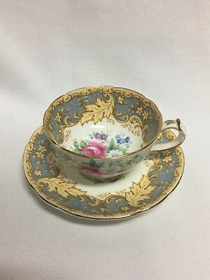 Paragon Gray Leaf Scroll Flowers Demitasse Cup & Saucer