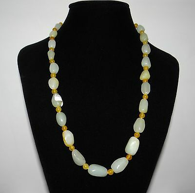 "0.8"" China Certified Nature Hetian Jade Green and White Beads Necklace"