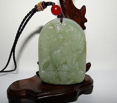 "2"" China Certified Nature Nephrite Hetian Jade Green Tiger Necklace Pendants"