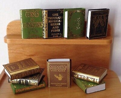 Miniature Dollhouse HALLOWEEN Harry Potter ~ 10 Wizard Hogwarts School Books #1