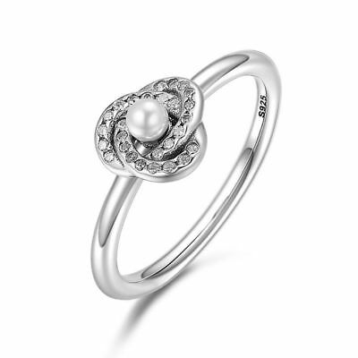 Luminous Love Knot Sterling Silver White Crystal Pearl & Clear CZ Ring Size 6-8