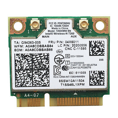 INTEL WIRELESS-N 7260HMW BN WIFI + BT 4.0 MINI-PCI E WLAN CARD Lenovo 04X6011
