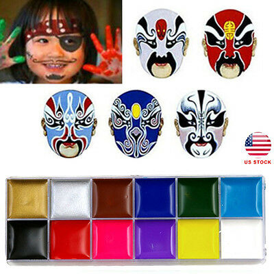 12Colors Face Body DIY Painting Oil Art Make Up Set For Halloween Party Fancy US