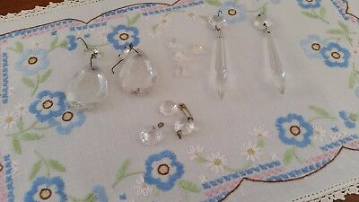 Vintage CLEAR CRYSTAL Chandelier SPARE PARTS Tears, Spikes, Round 15 pieces