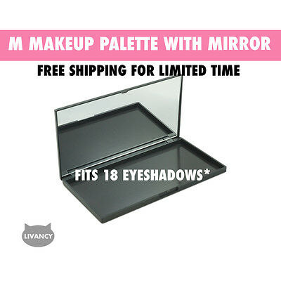 DIY Empty Magnetic Makeup Palette Black MS Strong Plastic Fits 18 Eyeshadows