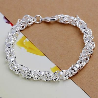 Fashion Womens 925 Sterling Silver Link Chain Charm Bracelet Wristband #B397