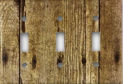 Rustic Barn Wood Design Look Triple Toggle Light Switch Cover Wall Plate