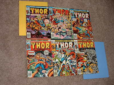 1976-77 Marvel Lot 6 Mighty Thor 253 254 255 256 257 258 FN-VF Free Shipping