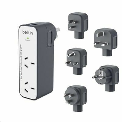 Belkin International Universal Travel Power Double Adapter +USB Charger AU EU UK