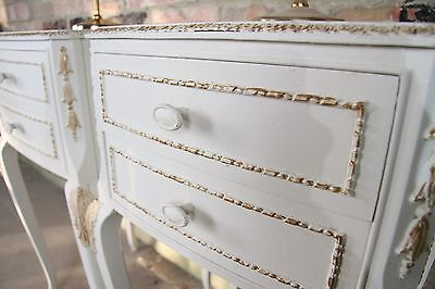 Pair Of Shabby Chic French Louis Style Two Drawer Bedside Cabinets, Cabriole Leg