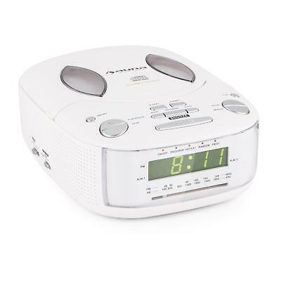 Auna Ultra Compact Top Loading Cd Player Radio Fm Aux Alarm Clock Timer White