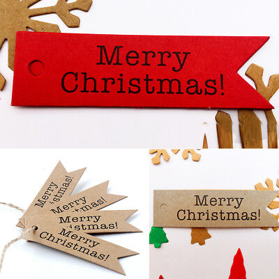 50pcs CHRISTMAS Holiday Party Hanging Paper Tags Favor Gift Card Label String