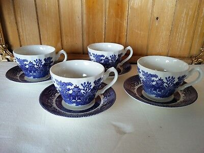 4x Tea Set Vintage CHURCHILL 'Blue Willow' Tea cups and saucers Made in England