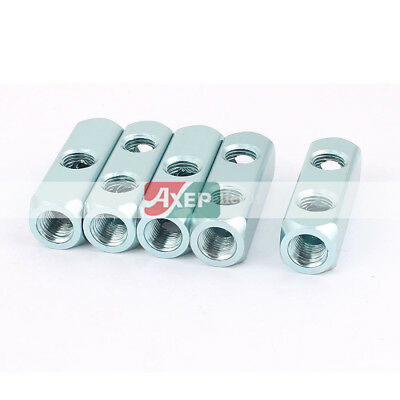 5Pcs 1/4BSP Thread Aluminum 2 Outlet Air Manifold Block Splitter Socket Blue