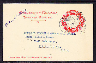 Mexico 1927 Embossed 4c Letter card to New York