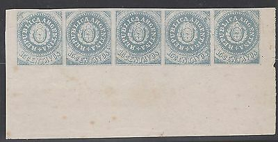 ARGENTINA - 1862 15c, escuditos - Lange's reprint (forgery) in strip of 5