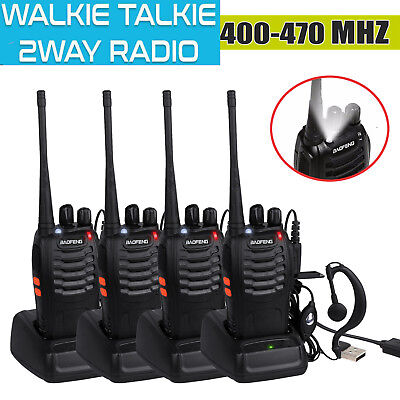 4x Baofeng Walkie Talkie UHF 400-470MHZ Long Range 2 way Radio 16CH 5W Earpiece