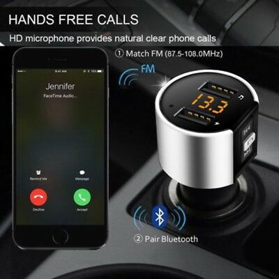 Bluetooth Car MP3 FM Wireless Transmitter Dual USB LCD Charger Kit Handsfree