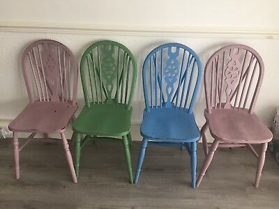 Vintage Colored Chair with Traditional Wheelback |Shabby Chic | Chalk Paint