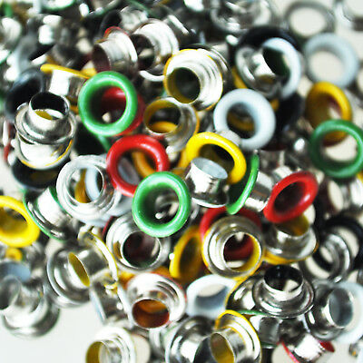200 pcs Metal Colorful Round Eyelets/ Rivets Mixed Colors 9 mm F7X9