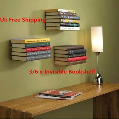3/6pcs Invisible Bookshelf Wall Mounted Floating Book Shelf Shelves Storage UK