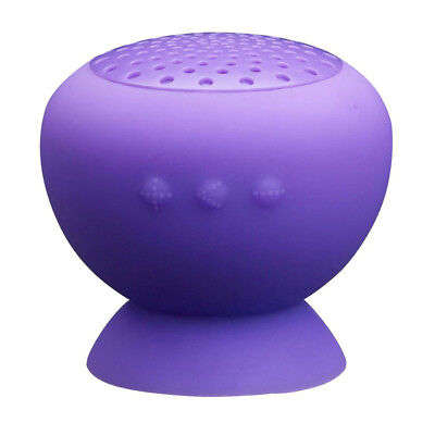 Mushroom Mini Bluetooth Speaker Waterproof Silicon Suction (Purple) Q6I8