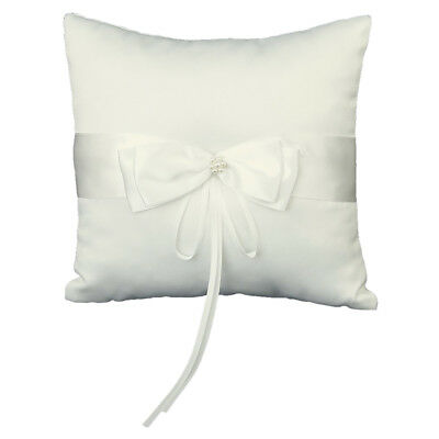 Faux Pearl Decorated Wedding Ring Pillow Cushion Bearer 20 x 20cm---Ivory A8W6